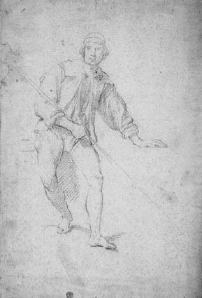 Seated young man with a cane