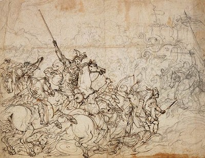Battle scene with elephants and orientals