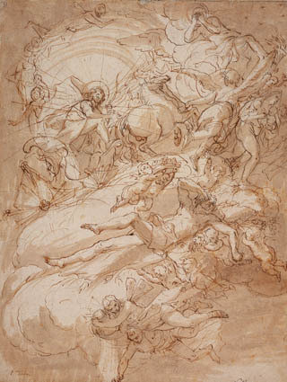 Image from object titled Apollo in his chariot, design for a ceiling painting