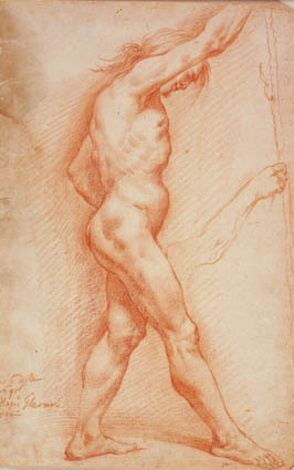 Standing male nude with a staff in profile to the right, and a sketch for his right arm