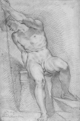 Seated male nude with a staff, turned to the left
