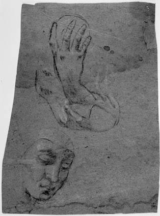 Et mandshoved og en højre arm og hånd holdende et rundt objekt; A man's head, and a right arm and hand holding a round object