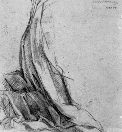 Drapery study for a kneeling figure turned to the right