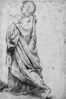 Draped male figure walking to the left