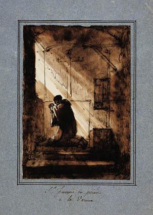 Den hellige Frans, knælende i bøn i sin celle