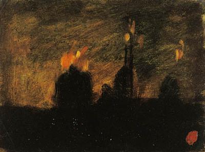 Nattestemning med ildebrande i St-Vast-là-haut nær Valenciennes.