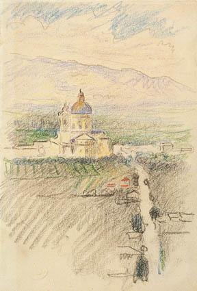 Udsigt over Santa Maria degli Angeli nær Assisi.
