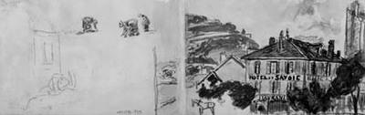 """Venstre side: løse rids af et hus, samt tre kvinder, der arbejder i marken. Højre side: udsigt henover """"Hotel de Savoi"""", mod La Batille, Grenoble"""