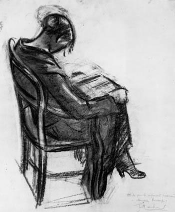 Image from object titled Siddende, læsende kvinde