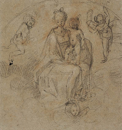 Madonna and Child in the clouds flanked by two putti