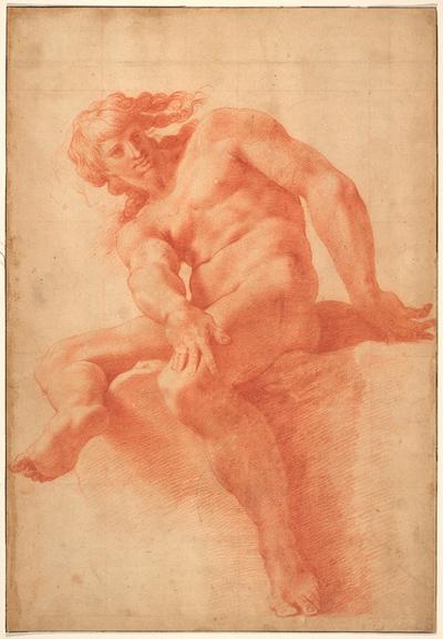 Siddende ung nøgen mand