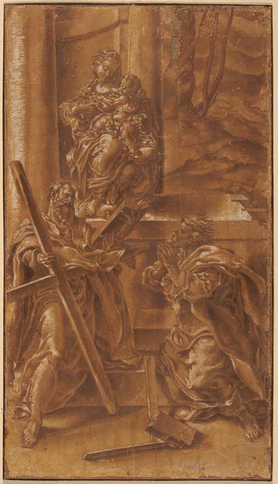 Madonna med barnet samt apostlen Andreas (t.v.) og den hellige Judas (t.h.)