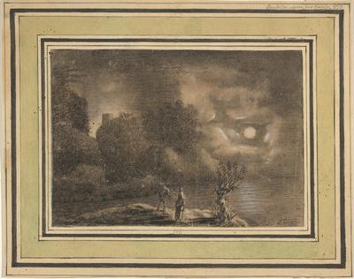 Månebelyst landskab med to figurer i forgrunden