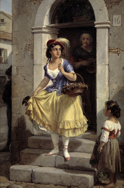 An Italian Woman in the Way to the Carnival