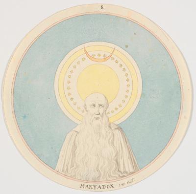 Mand med langt skæg (halvfigur) under stjernehimmel