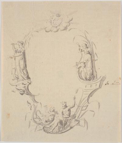 Udkast til titelvignet til et søkort (med teksten: Pass Kaart over Kattegattet, udg. af Søkortarkivet 1799)