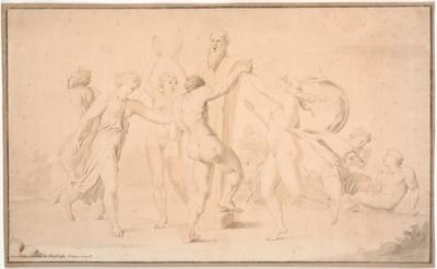 Bakkanal. En satyr, en bakkant og tre bakkantinder danser om Priapsherme
