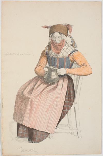 Siddende kone med en kande