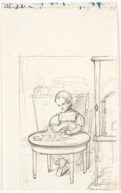 Et barn der bygger korthuse