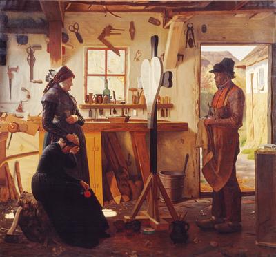 To kvinder besøger landsbykunstneren for at se det bestilte gravkors; Two Women Call on the Village Artist to See the Memorial Cross they Have Commissioned