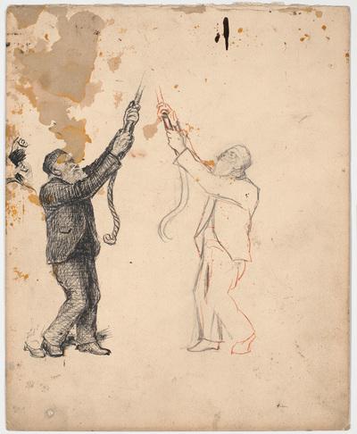 To studier af en ringer samt detailstudier af hans fod og baghoved