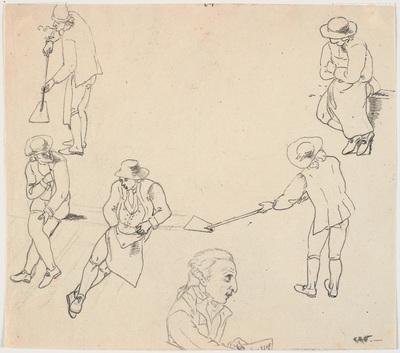 Image from object titled Skitse med seks mandlige figurer, to med skovle, tre siddende, samt en mandsprofil