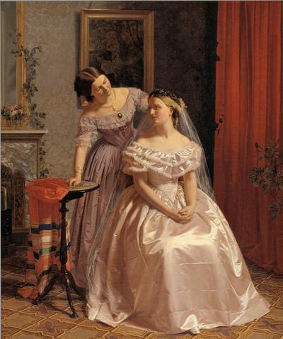 Bruden smykkes af sin veninde