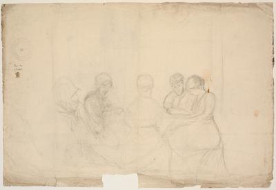 Gruppe med fem siddende figurer