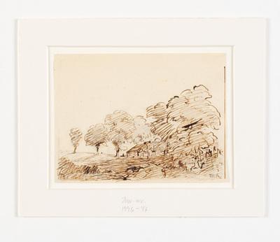Landskab med hytte under høje træer