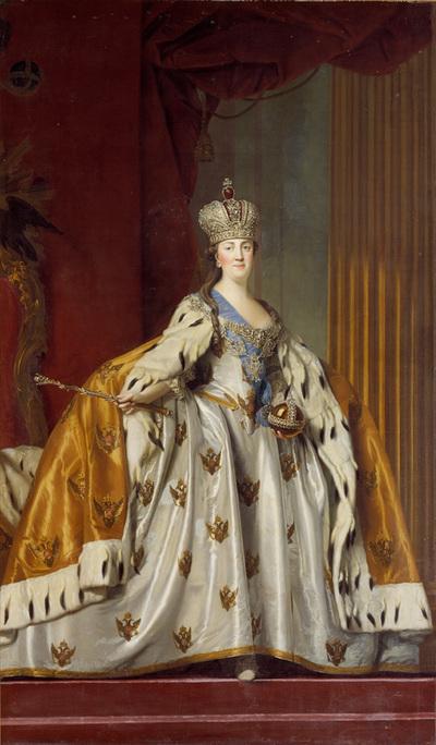Katharina II af Rusland i kroningsdragt; Udført til potentatgemakket på Christiansborg