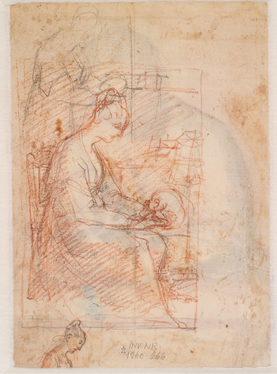 Three studies for St Mary Magdalen in profile to the right. In two of the studies she is seen with a skull, the upper one standing, the centre figure seated, the woman at the bottom trimmed