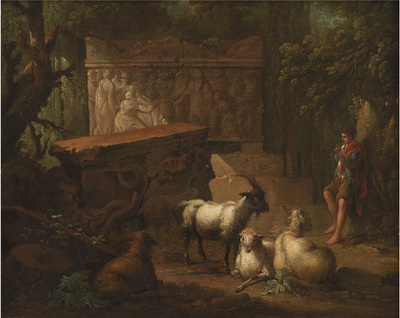 Antikke ruiner omgivet af træer, i forgrunden en hyrde og nogle geder