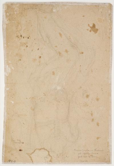 Løs skitse af siddende ung mand i antik militært antræk holdende et skjold i højre hånd