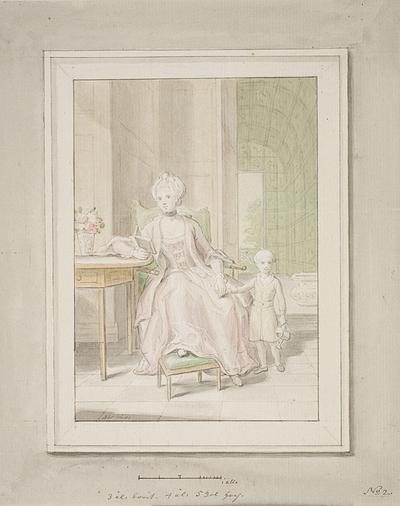 Dronning Caroline Mathilde med kronprins Frederik.