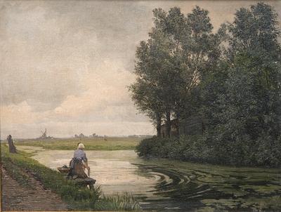 Hollandsk landskab. En pige vasker ved en kanal