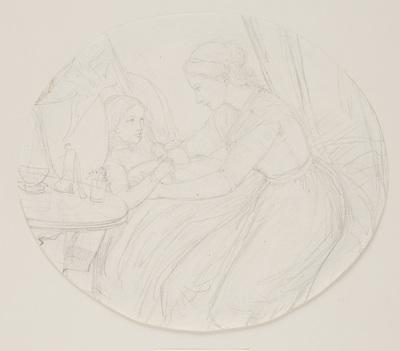 En ung kvinde ved et sygt barns seng