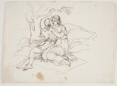Et ungt par i omfavnelse i et landskab