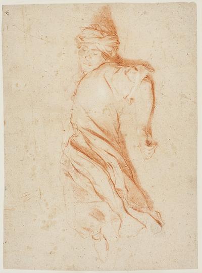 Liggende mandlig figur i orientalsk dragt. Verso: Skitse til løbende mand og skitse til figur, der rækker armene frem