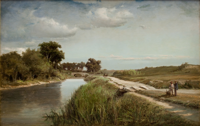 French River Landscape with a Bridge