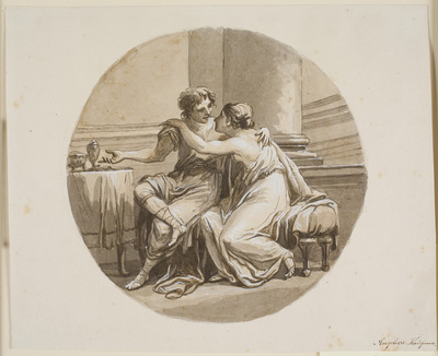 Two lovers in an interior