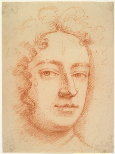 Face of a man, three-quaters, looking directly at viewer, possibly a self-portrait