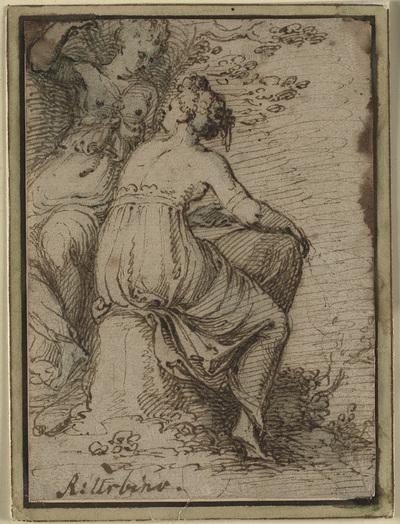 Two women sitting in a landscape