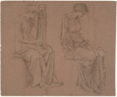 Two studies of a sitting girl playing a zither