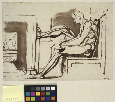 Sitting man with his right foot on a chimneypiece