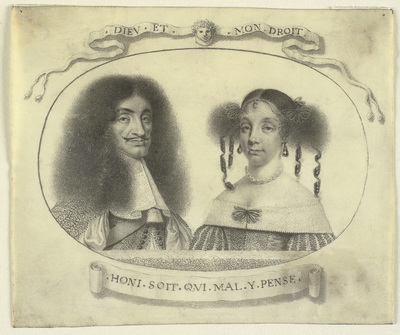 Portrait of Charles II and his queen Catharine of Braganza