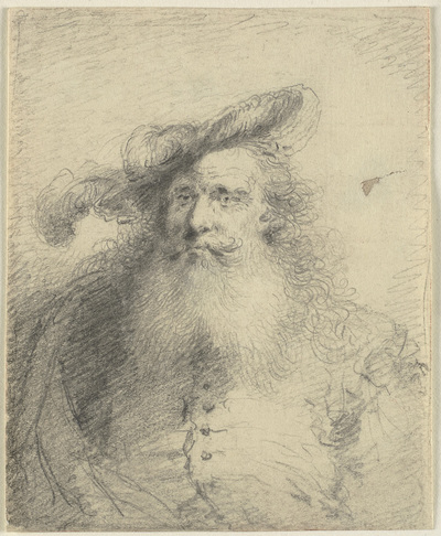 Head and shoulder portrait of a bearded man with a feathered hat