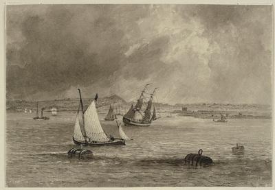 Ships off the coast