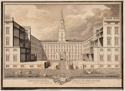 Christiansbourg Palais de Copenhague. Coupe de la grande facade de l'entrée de la premiere Cour