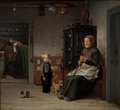 En fattig kone der venter på et krus øl i en bondestue