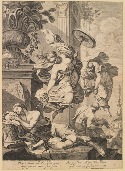 Allegory with Fortuna and a sleeping artist in antique costume